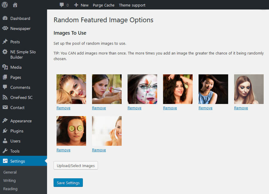 Easy visual editor to set the images